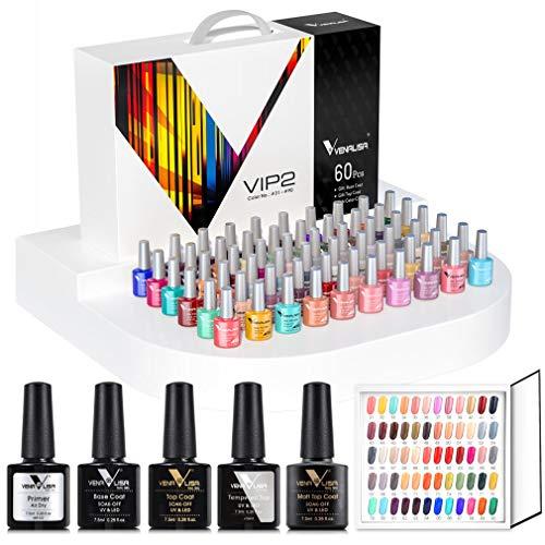 VENALISA 65 Pcs Gel Nail Polish Kit with Base and Top Coat ,Soak Off UV LED Nail Gel Polish Sets with Colors Nail Art Starter Manicure Salon