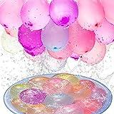 222 Stück Wasserbomben Selbstschließend Schnellfüller,6 Bündel mit je 37 Wasserbomben luftballons Water Balloons Wasserballons Bunt Gemischt für Wasserspiel Garten Kinder Erwachsene Sommerspaß