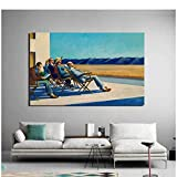 Edward Hopper People In The Sun Pintura en lienzo Impresión Sala de estar Decoración del hogar Arte moderno de la pared Pintura al óleo-50x75cm Sin marco