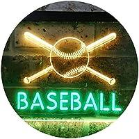 Baseball Club Illuminated Dual Color LED看板 ネオンプレート サイン 標識 緑色 + 黄色 400 x 300mm st6s43-i0580-gy