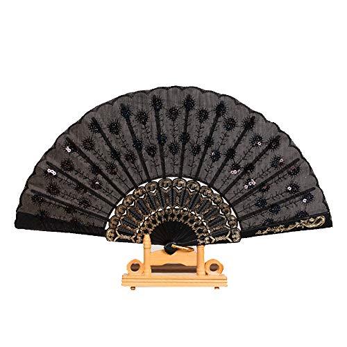 1 abanico de lentejuelas elegantes para mujer, diseño de pavo real, plegable, estilo chino, accesorios de artesanía para bodas, bailes, fiestas, color negro, práctico y útil