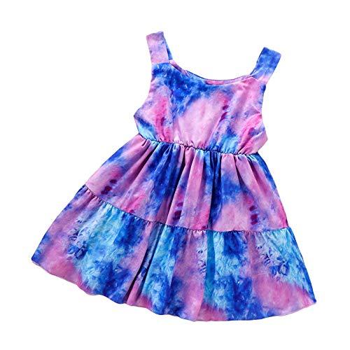 Ueohitsct Vestido de unicornio para niñas pequeñas, sin mangas, casual, con cintura elástica, arco iris, ropa casual