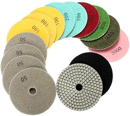 Mnjin Juego de 15 almohadillas de pulido de 4 pulgadas con almohadillas de pulido de disco autoadhesivas, grano 50 – 6000, abrasivo de diamante abrasivo