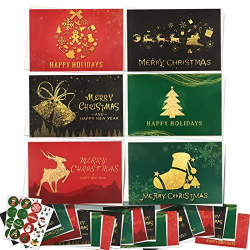 24枚 クリスマスカード 封筒付き クリスマス メッセージカード 二つ折り トナカイ ベル クリスマスツリー ソックス (赤緑黒)