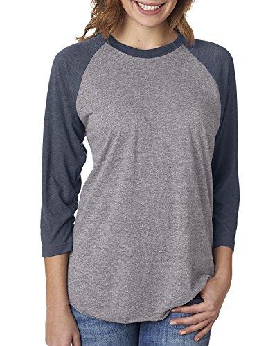 Next Level Unisex 3/4-Sleeve Raglan T-Shirt, Vintage NVY/Premium HTHR, X-Large