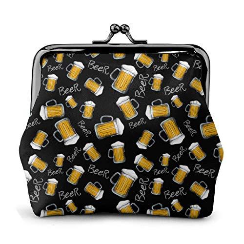Portafoglio in pelle Boccale di birra Modello Fibbia Portamonete Borsa vintage Borsa Kiss-lock Borsa per il cambio