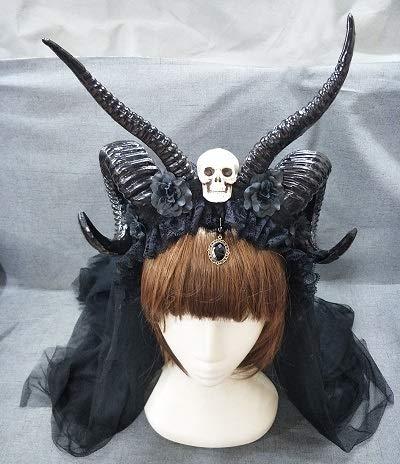 KangsanliSteampunk Antelope Horns - Diadema con diseño de calavera y flores, Diadema con colgante y velo de 60 cm, 1.00[set de ]
