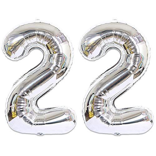 Huture 2 Luftballons Zahl 22 Figuren Aufblasbar Helium Folienballon Große Folienmylar Ballons Riesen Silber Ballons 40 Zoll Luftballons Zahl für Geburtstag Party Dekoration Abschlussball XXL 100cm