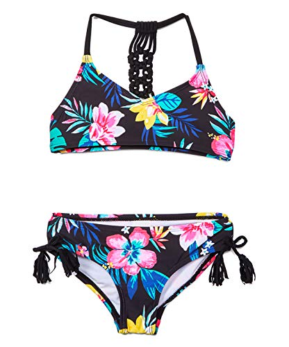 Kanu Surf Girls' Willow V-Neck Bikini Beach Sport 2-Piece Swimsuit, Brooke Black, 12