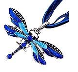 Nalmatoionme Collar con colgante de libélula de moda, cadena con incrustaciones de diamantes de imitación, color azul