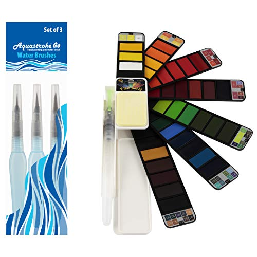 Fan-PAN Portable Watercolor Paint Set - 42 Assorted Colors with 4 Brushes - Professional Artist Grade Foldable Travel Kit with Water Brush for Plein Air, Field & Outdoor Painting for Kids or Adults