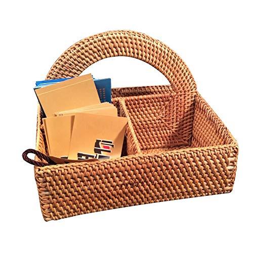TnSok Multifunktions Fernbedienungshalter Rattan-Speicher-Korb Compartments Multifunktionale for Kaffeetisch Heim und Büro Sundries Sorting Box (Color : Natural, Size : 23x18cm)