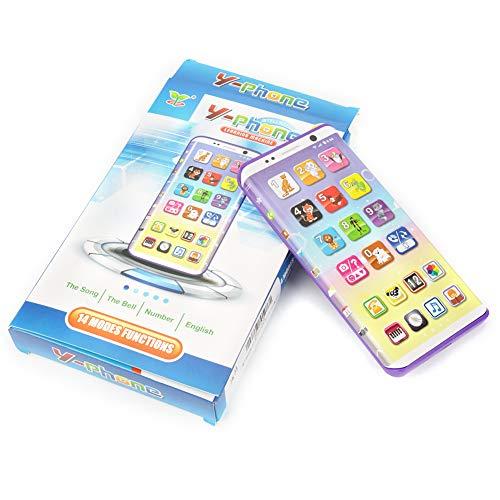 Juguete para teléfono móvil, Juguete para teléfono púrpura Juego de Música Teléfono Celular Educativo Móvil con Puerto USB Pantalla táctil para niños