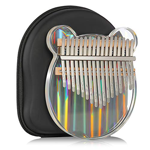 Kalimba Thumb Piano 17 Keys Rainbow Clear Musical Instruments, Mbira Finger Piano Gifts with Tune Hammer and Study Instruction for Kids and Adults Beginners