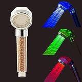 Alcachofa de ducha LED con control de la temperatura, 3 colores, alta presión, antical, universal, con flujo regulador del agua, ahorro hídrico, clase A+, sin alimentación