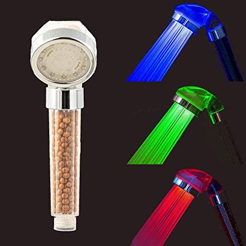 Jeemil Soffione Doccia Anticalcare LED Termosensibile Telefono Alta Pressione Per Risparmio Idrico [Classe Energetica A+]