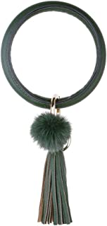 Loveliome Keychain Bracelet for Women, Wristlet Large Circle Leather Tassel Pom Pom Key Ring