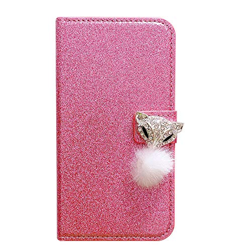 WANYINGLIN Girl Bling Fox Diamond Hülle für Samsung A71,Colorful Purse Magnet Ultra Slim Thin Leather Leder Glitter Wallet Stand Function Magnet with Card Slot Holder