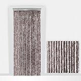 Cortina antimosquitos de tiras de flojel 90 x 210 cm - marrón grisáceo - Made in Italy