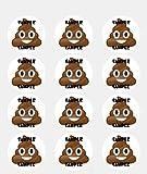 Twelve 2 Poop Emoji Edible Cupcake Frosting Cake Toppers by Kopykake