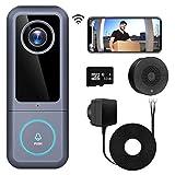 WiFi Video Doorbell Camera(Wired), Morecam 2K Ultra HD Camera Doorbell with Chime, Doorbell Wiring & Adapter, 2-Way Audio, Work with Alexa & Google hub, Cloud/SD Card Storage(32 GB SD Card Included)