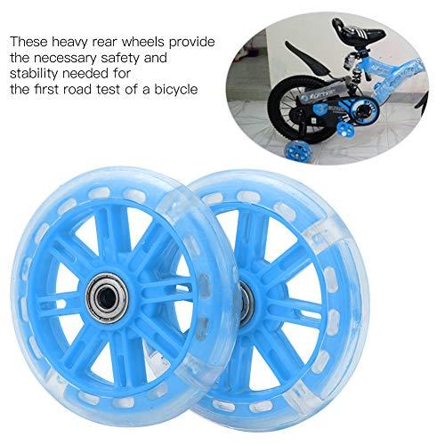 Alomejor Kinderfahrrad Stützräder LED Leuchten Fahrradstabilisatoren Stützräder Ersatz für 12-20 Zoll Kinderfahrrad(Blau) - 4