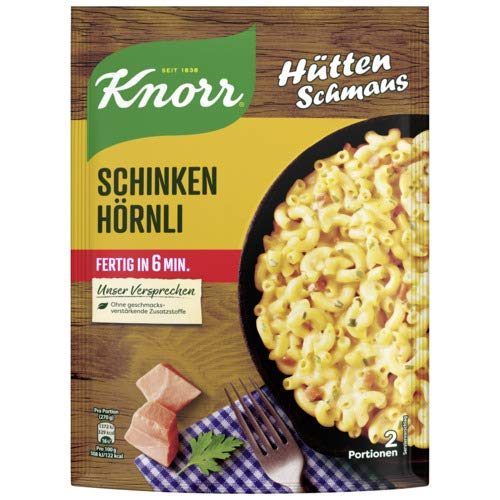 Knorr Hüttenschmaus Schinken Hörnli Nudel-Fertiggericht 2 Portionen (Verpackung Sortiert) (1 x 156 g)