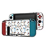 Dockable Case Compatible with Nintendo Switch Console and Joy-Con Controller, Patterned ( Funny Cartoon Seagull beach bird character ) Protective Case Cover with Tempered Glass Screen