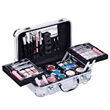 Mave Carry All Trunk Train Case with Makeup and Reusable Black & White Aluminum Case (WHITE)