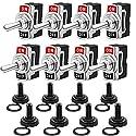 Gebildet Kippschalter 12-24V/15A, EIN/AUS Wippschalter mit Metallhebel, SPST 2-pin Rocker Toggle Switch mit Wasserdicht Schutzkappe, zum Auto KFZ LKW Boot (8 Pack, Schwarz)