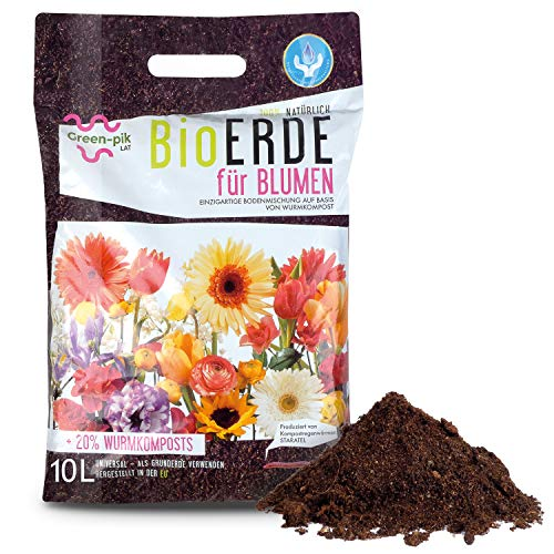 Green-PIK LAT BioERDE für Blumen – Ökologische Wurmkompost Fertigmischung I Nährstoffe für Blumen mit Bio-Humus I Kompost zur Pflege Ihrer Balkon-Pflanzen I Für Ihren Garten I 10 L Sack