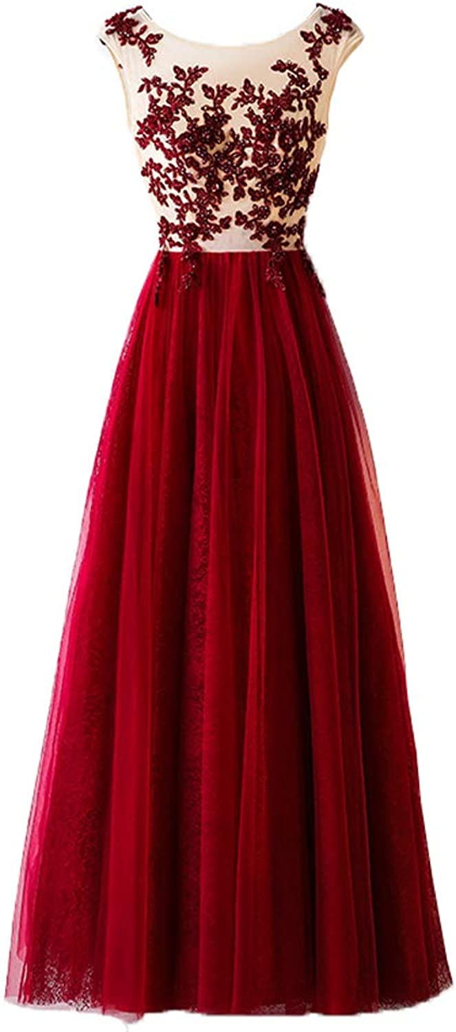 Heloise Women's Lace Long Prom Dress Beaded Tulle Evening Dresses ALine Party