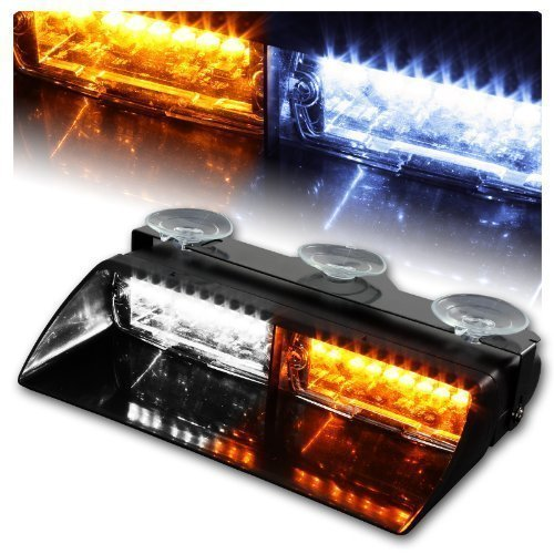 16 LED High Intensity LED Law Enforcement Emergency Hazard Warning Strobe Lights For Interior Roof Dash Windshield With Suction Cups (Amber and White)