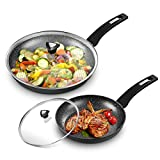10''+12'' Nonstick Frying Pan with Lids-Skillets Sets with Withford Coating, PFOA&APEO Free, Uniform Heating, Aluminum Alloy, Rubber Handle, Suitable for All Stove Tops, Black with White Dots.