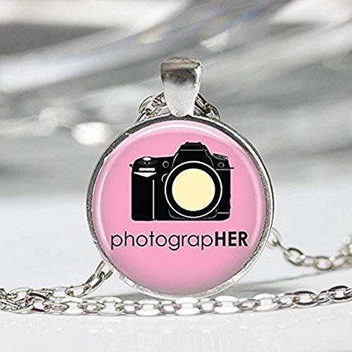 Cámara de joyería rosa fotógrafo collar