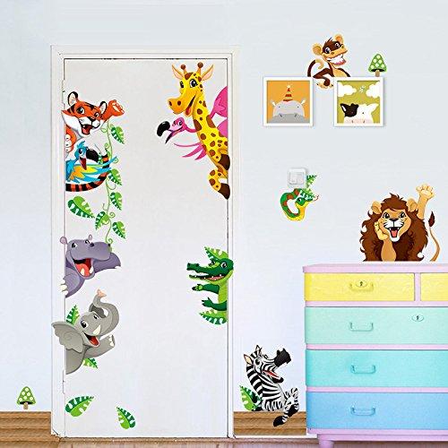 Stickers adhésifs Enfants | Sticker Autocollant Animaux de la savane - Décoration murale chambre enfants | 30 x 90 cm