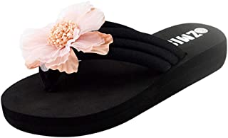 Women Open Toe Flats Shoes Slipper, Ladies Flower Flip Flop Slippers Home Beach Shoes Sandals