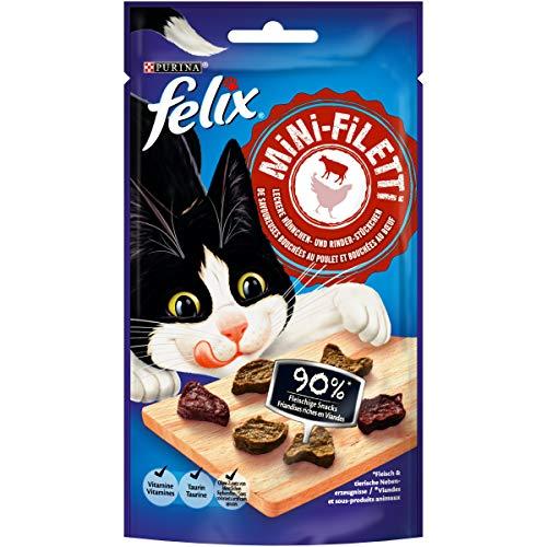 FELIX Mini-Filetti - Caruchas para Gatos con 90 % de Carne, con Pollo y Vacuno, 7 Unidades (7 x 40 g)