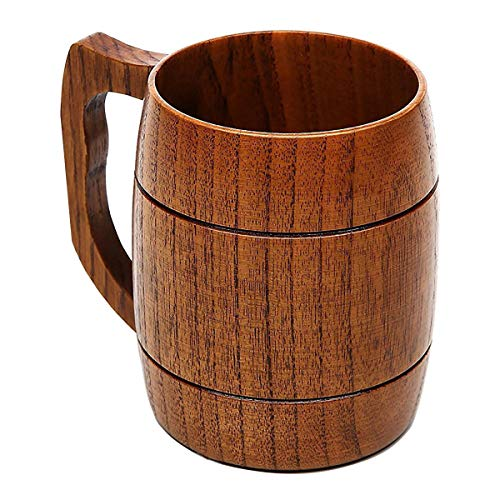 Beer Mug, Natural Solid Wooden Cup, Retro Beer Cup, Best Gift Mugs for Wine, Coffee, Tea, for Bar, KTV, Club, Restaurant, Hotel and Home Use, with Handle, Big Capacity, 500ml