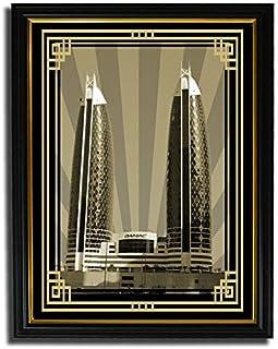 صورة الدماك برج سيبيا مع إطار ذهبي بدون نص F08-NM (A5)