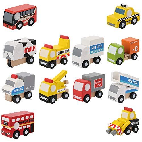 Coche de Madera, Coche de Juguete de Color Brillante Vivo 12Pcs / Set para el hogar para el Exterior para niño y niña(2nd Generation Car)
