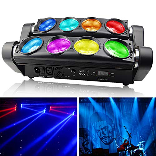 BETOPPER DJ LED Lights 8x8W Super Bright Moving Head Stage Light RGBW 4 in 1 Disco Lighting DMX with 1/6/12/36 Channel for Home Party,Stage,Gigs,Mobile DJ,Band Lighting,Restaurant,Church Events etc.