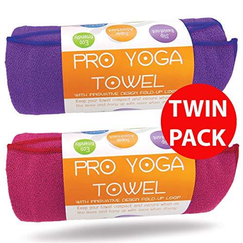 Limber - Asciugamano da Yoga Elasticizzato, 2 Pezzi, Colore: Viola e Rosa