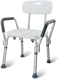 DEWEL お風呂 椅子 シャワーチェア バス アルミ製  手すり 背もたれ付 6段階高さ調節 軽量 耐荷重136kg