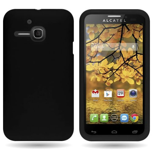 CoverON Silicone Rubber Soft Skin Case Cover for Alcatel One Touch Evolve 5020T (1st Gen) - Black