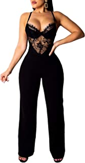 Womens Sexy Spaghetti Strap Lace Jumpsuits Sleeveless Bodycon Long Pants Bodysuits