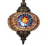 (31 modelos) Lámpara de techo colgante hecha a mano con mosaico, 2019 impresionante 41,9 cm de altura – 17,78 cm, globo turco marroquí de cristal árabe, decoración del hogar, color bronce claro