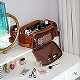 Elviros Kulturbeutel PU-Leder für Herren große wasserdichte Reise-Kulturtasche Waschtasche im Bade Kosmetiktasche mit einem Nass-Trockenbeutel, Braun - 8