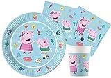 Ciao- Kit Mesa Fiesta Party Peppa Pig Star Shine de papel compostable FSC para 8 personas (36 piezas: 8 platos Ø23cm, 8 vasos, 20 servilletas), Y6172