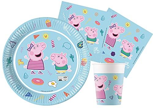 Ciao- Kit Party Tavola Peppa Pig Star Shine Carta FSC compostabile per 8 (36 pz: 8 Piatti Ø23cm, 8 Bicchieri, 20 tovaglioli), Multicolore, 8 Persone, Y6172